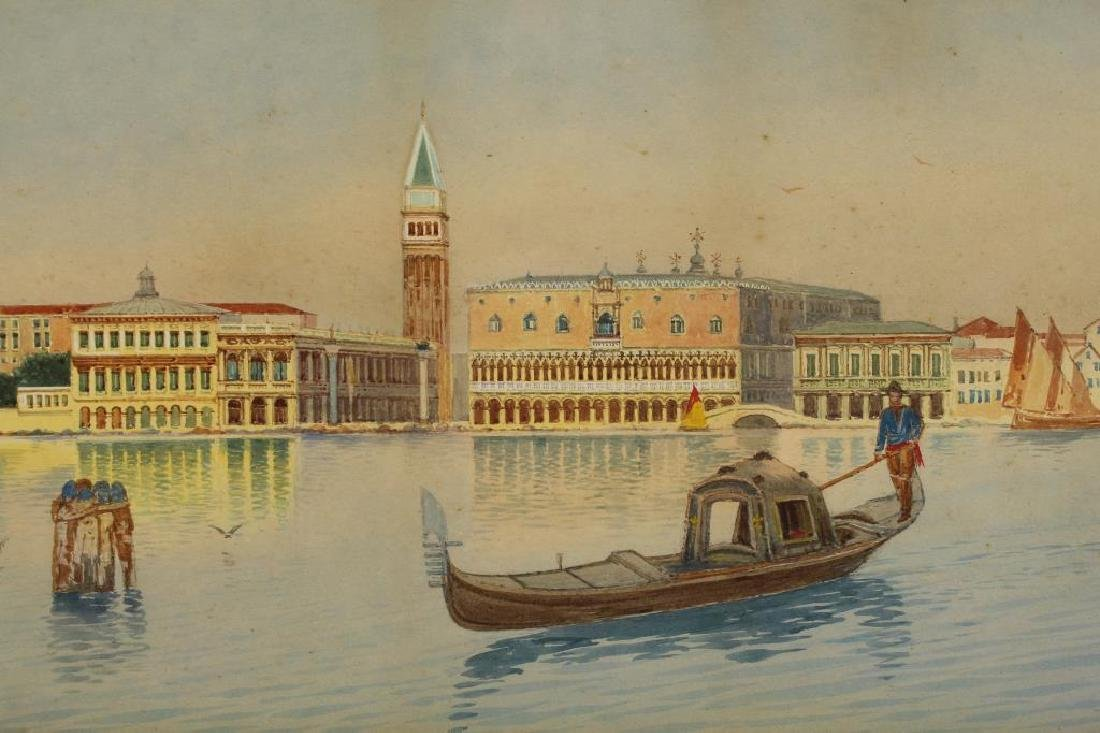 (2) European School Views of Venice Italy, Signed - 4