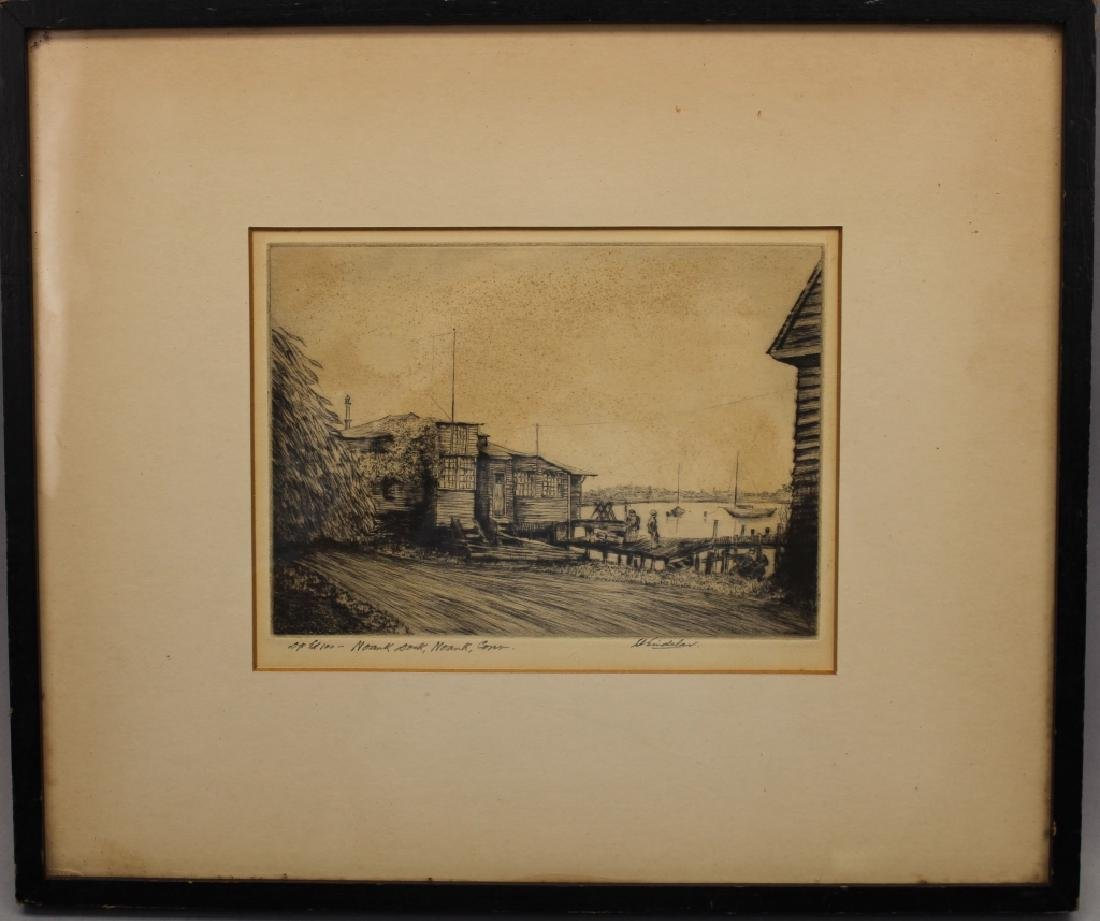 Signed Etching, Norwalk Connecticut Harbor