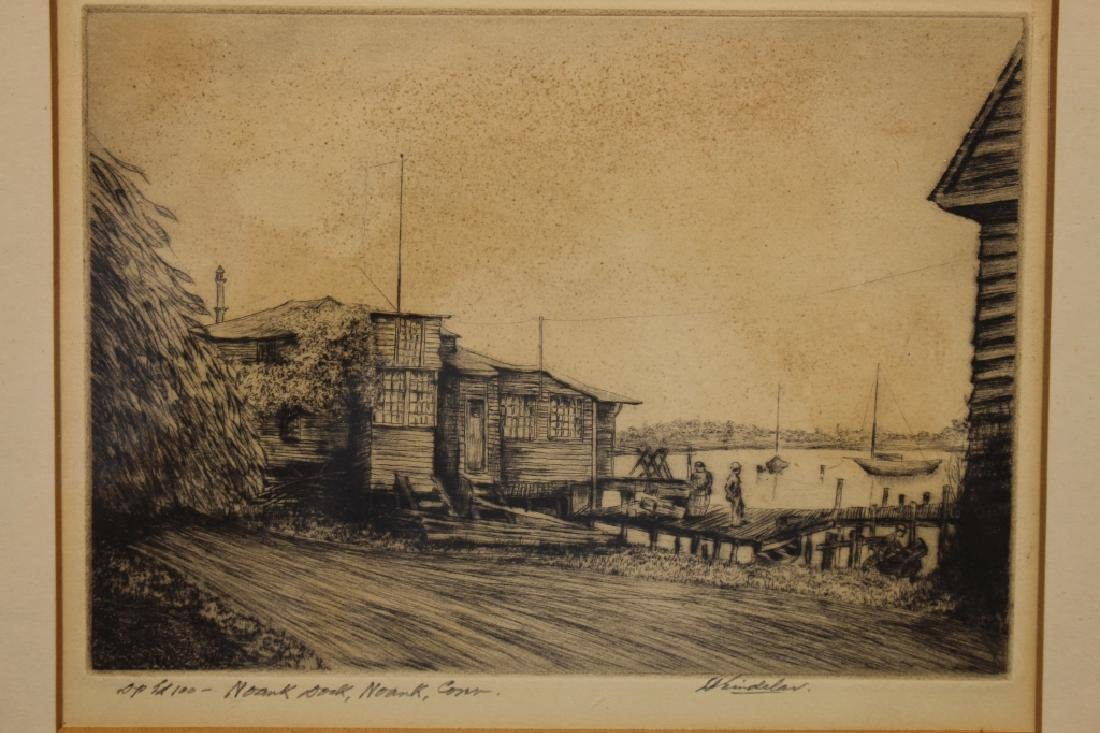 Signed Etching, Norwalk Connecticut Harbor - 2