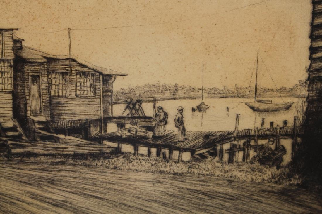 Signed Etching, Norwalk Connecticut Harbor - 3