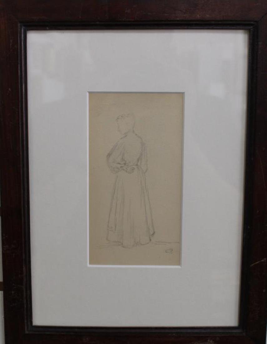 French School, Pencil Sketch of Woman. Signed