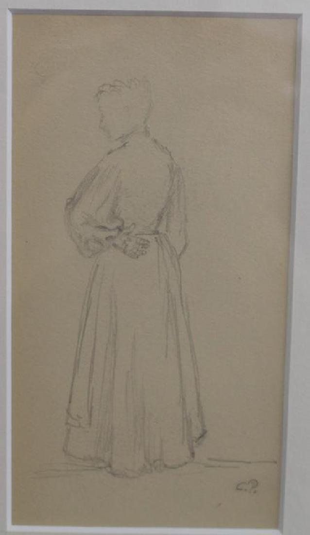 French School, Pencil Sketch of Woman. Signed - 2