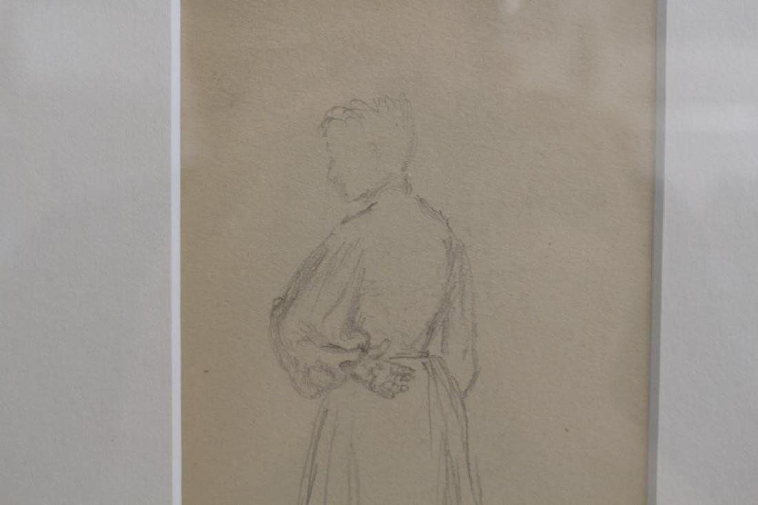 French School, Pencil Sketch of Woman. Signed - 3
