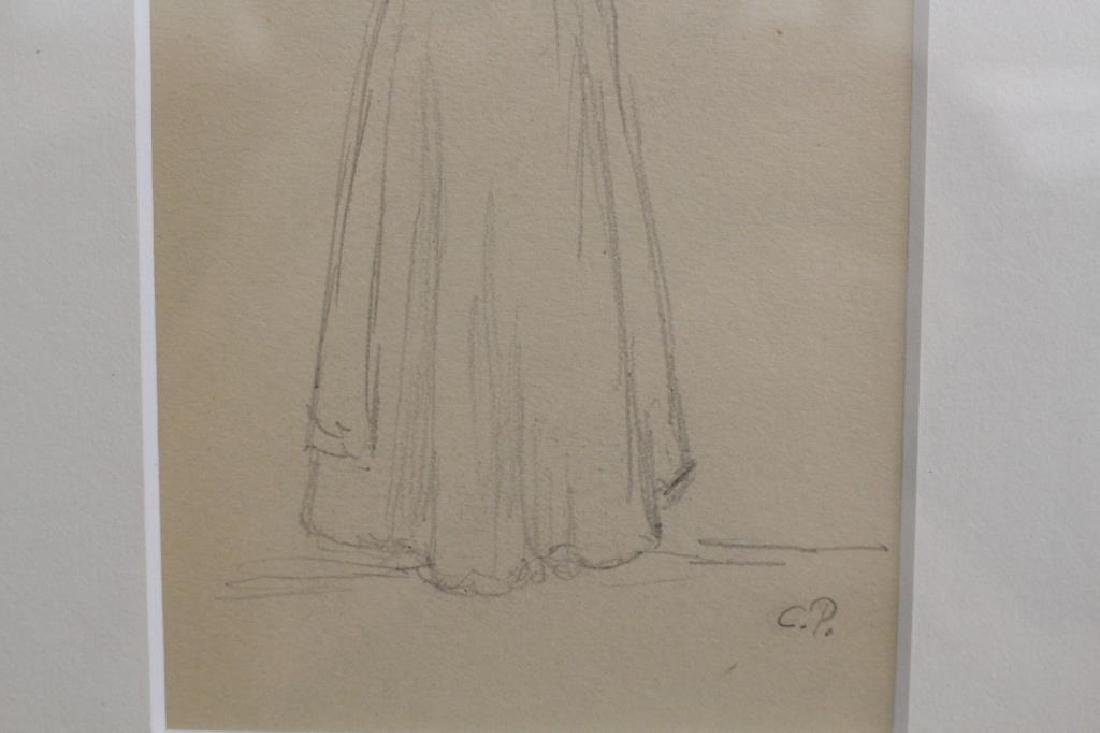 French School, Pencil Sketch of Woman. Signed - 4