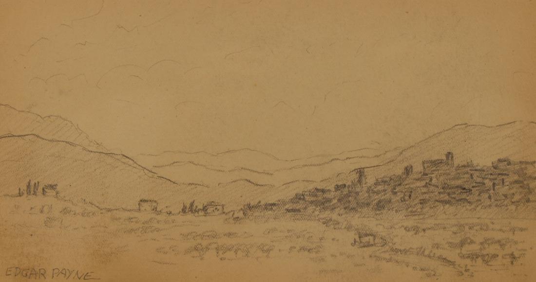 American School, Signed Western Landscape Sketch - 2
