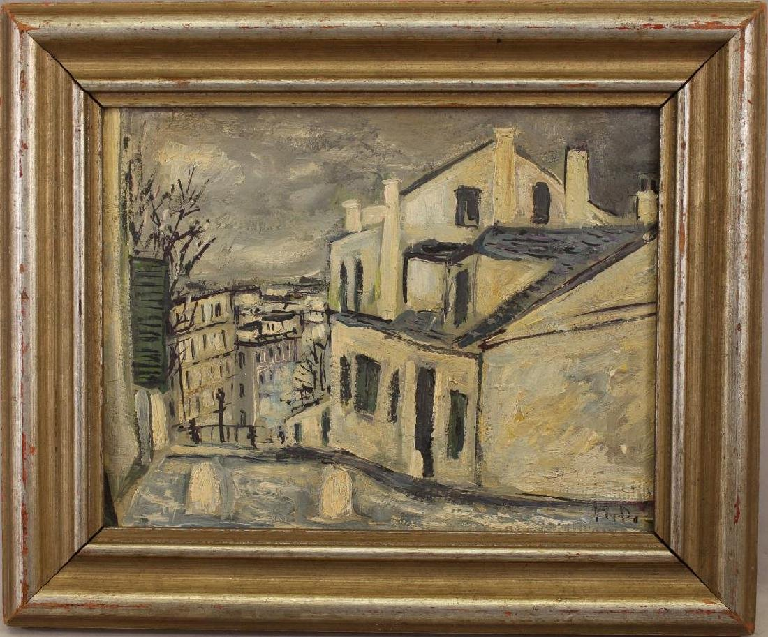 Signed 20th C. Painting of a European Village