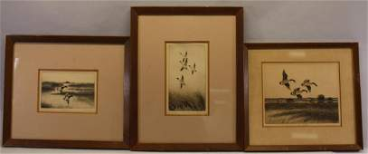 (3) Dell Weller (born 1927) Wildlife Etchings