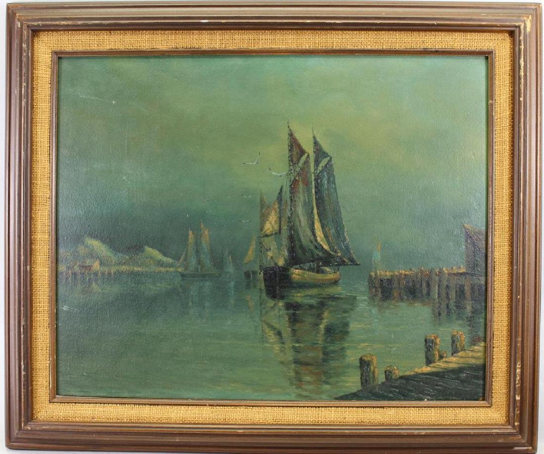 Early 20th C. Harbor Scene, Signed