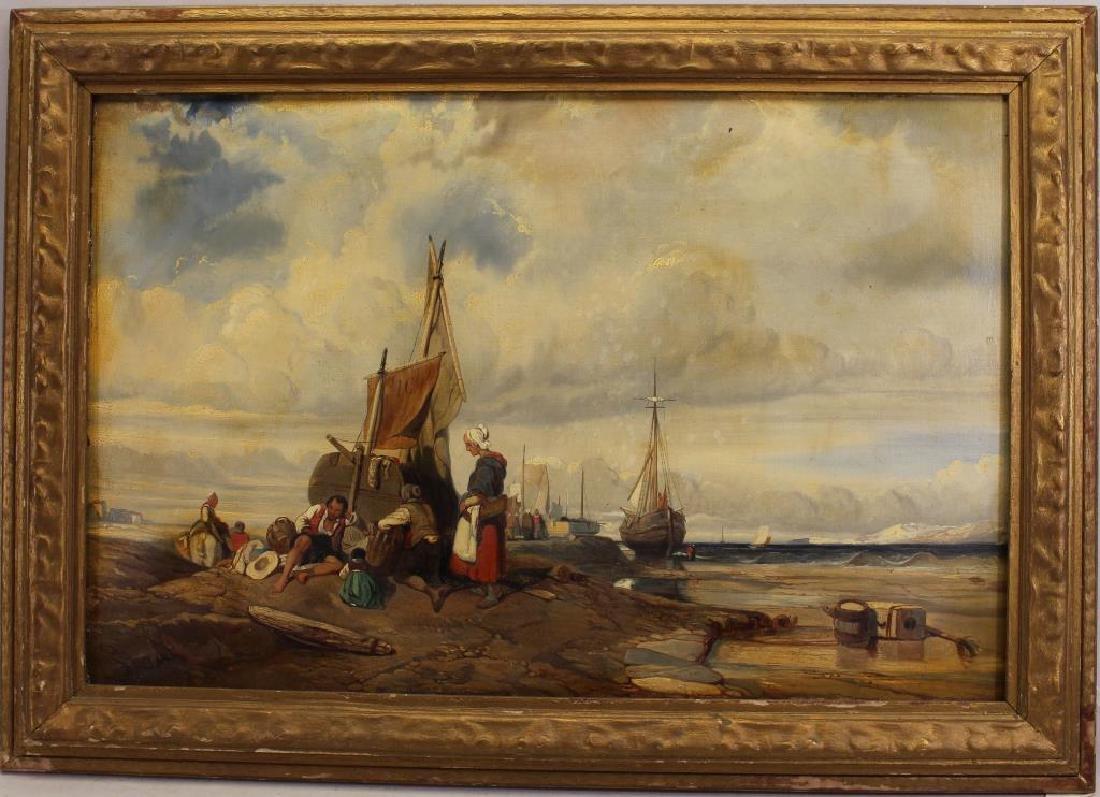 Dutch School, 19th C. Coastal Painting w/ Figures