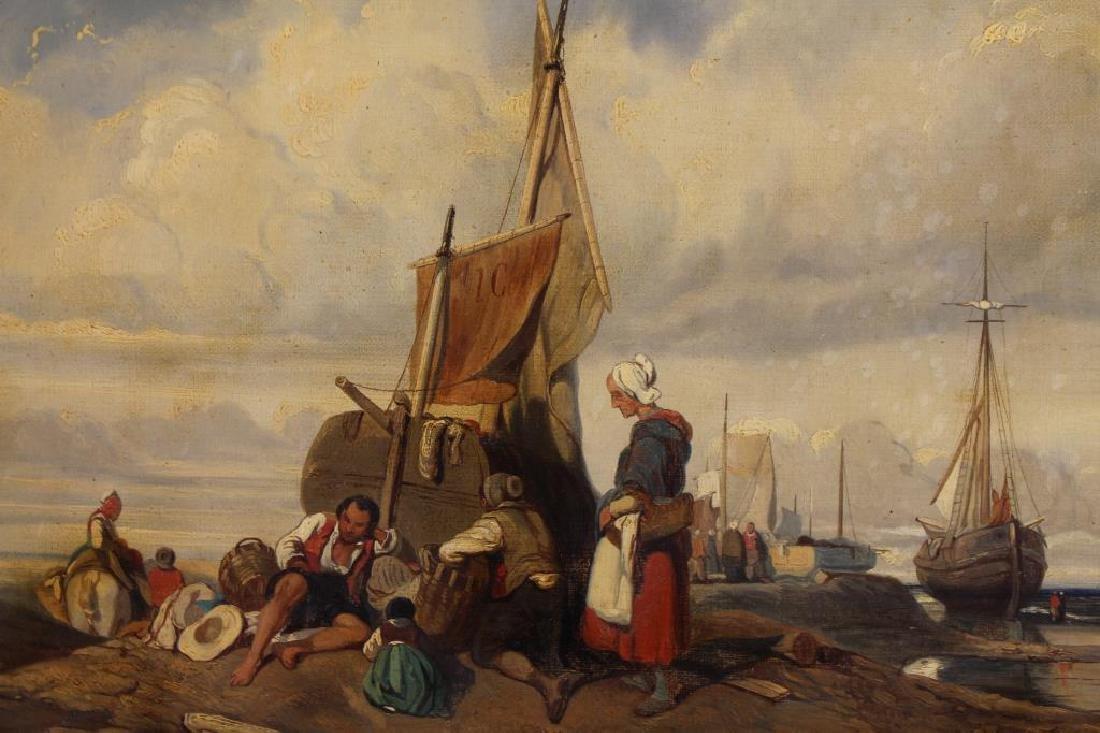 Dutch School, 19th C. Coastal Painting w/ Figures - 2