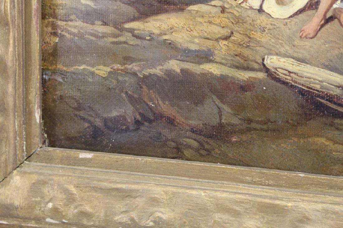Dutch School, 19th C. Coastal Painting w/ Figures - 3