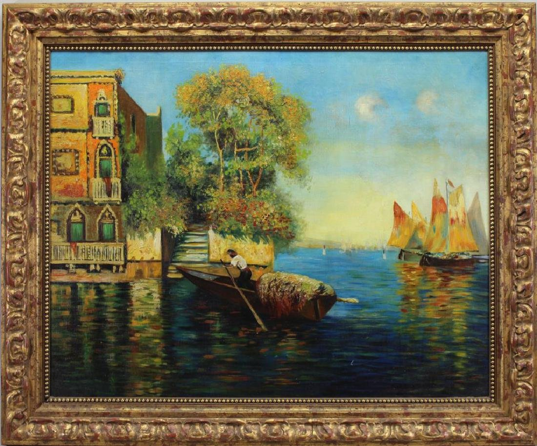 20th C. Painting of Venice Italy Canal Scene