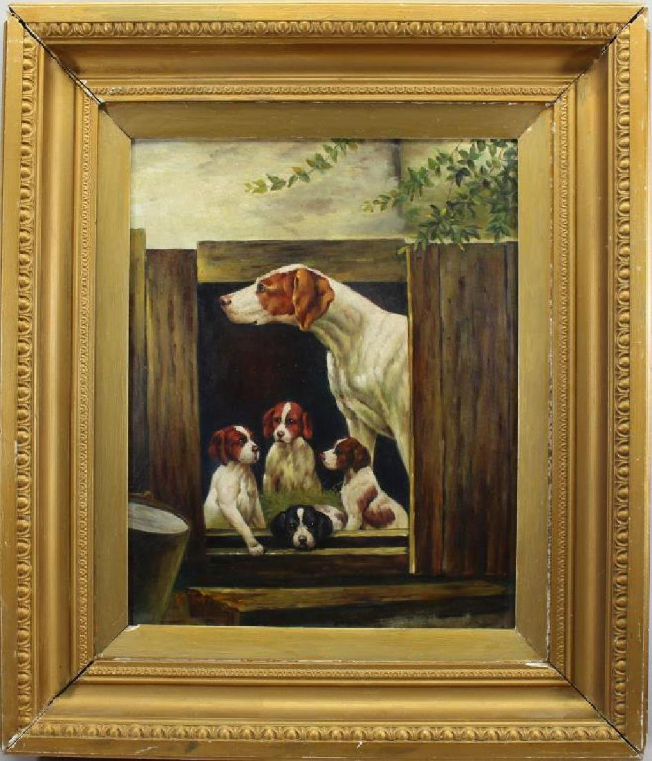 P. Thomas, Signed Painting of a Litter of Puppies
