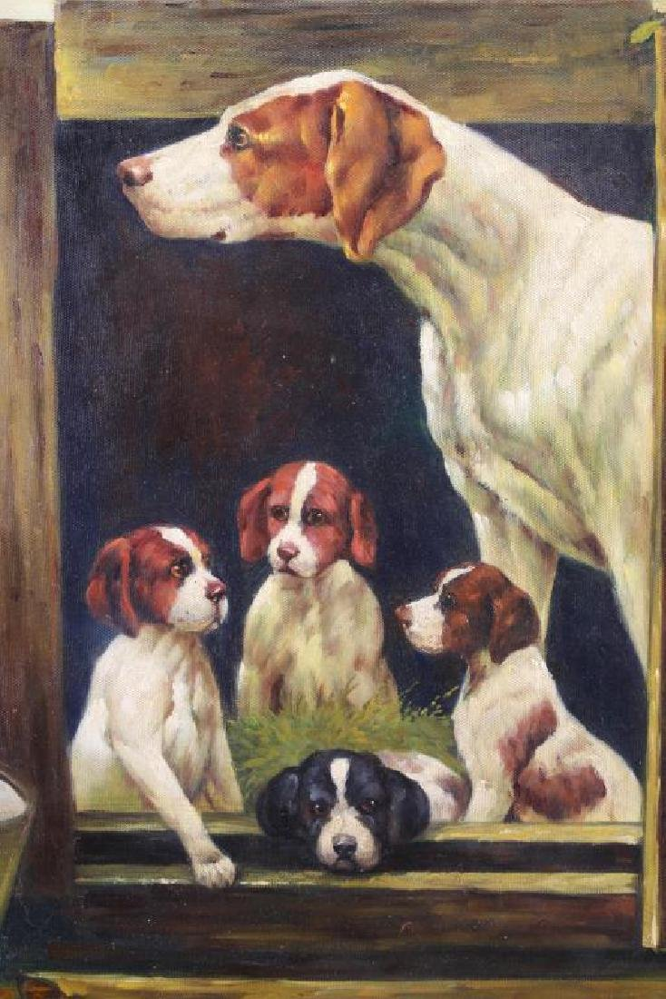 P. Thomas, Signed Painting of a Litter of Puppies - 2
