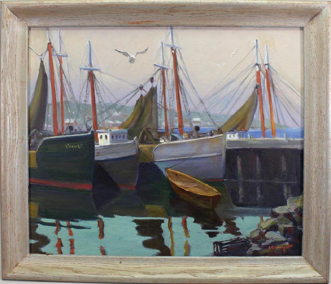 L Ben Wright (born 1947) Harbor Scene