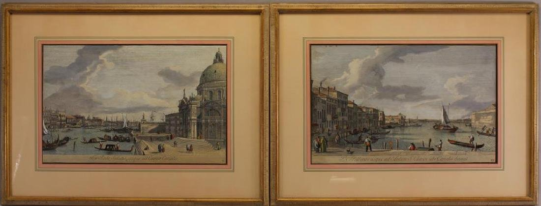 (2) Antique Hand Colored Engravings, Venice Italy