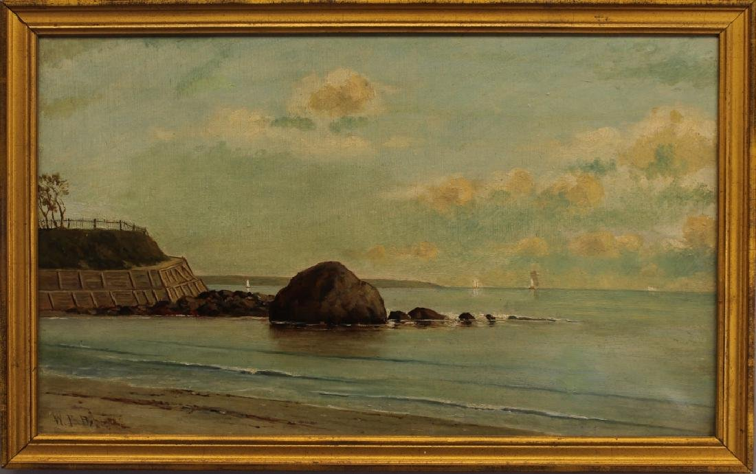"American School, Signed ""WTR"" Coastal Painting"