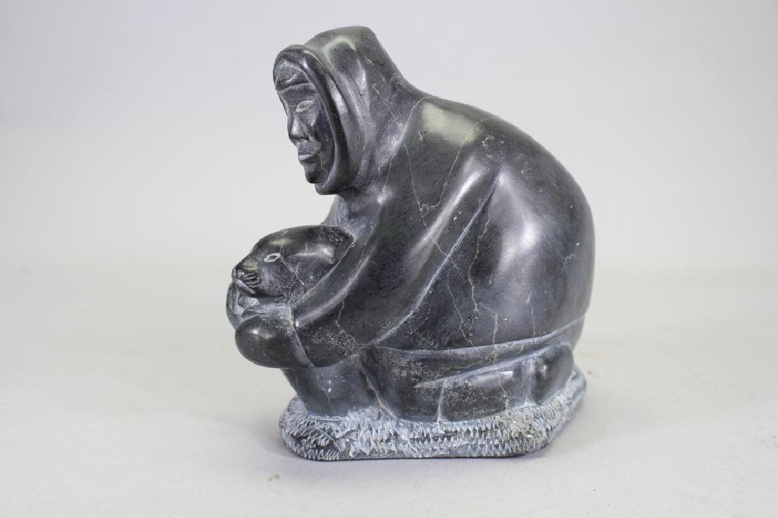 Carved Sculpture of Inuit Hunter Capturing Seal - 2