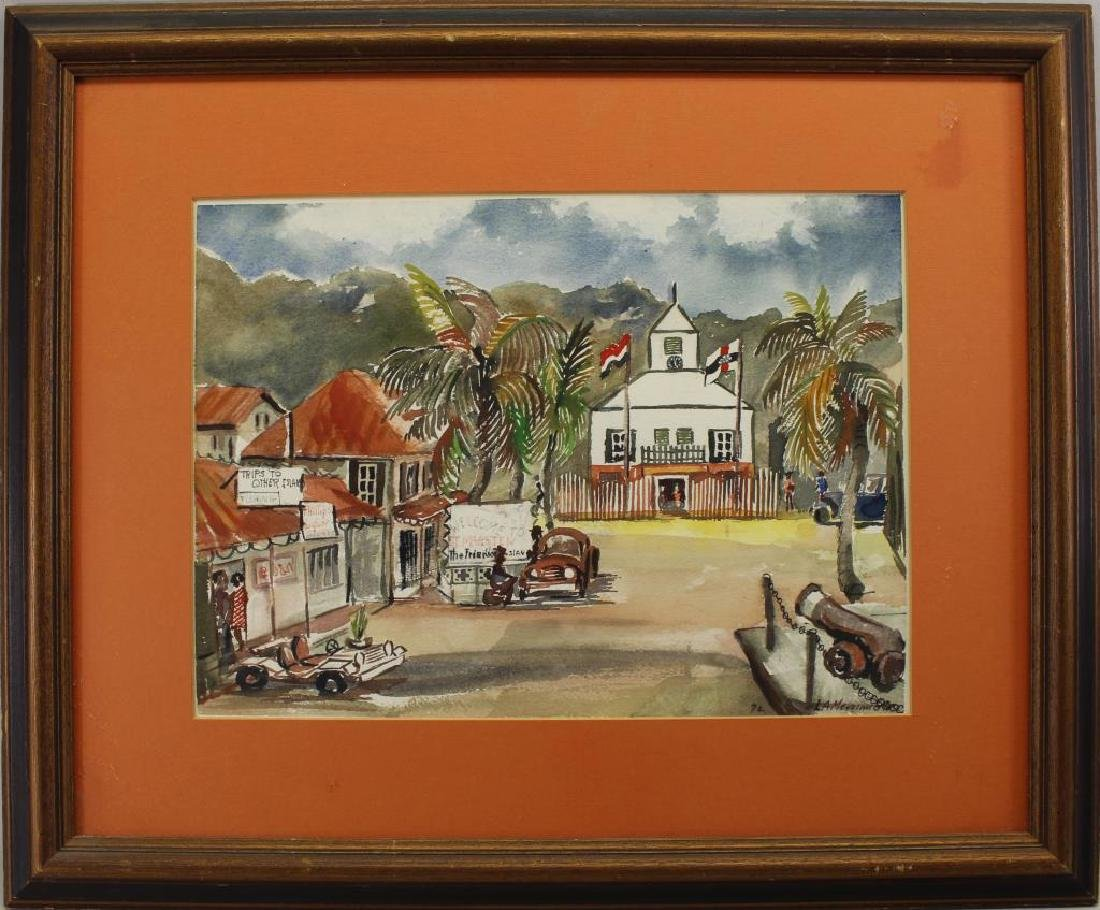 20th C. Watercolor of Saint Martin Island