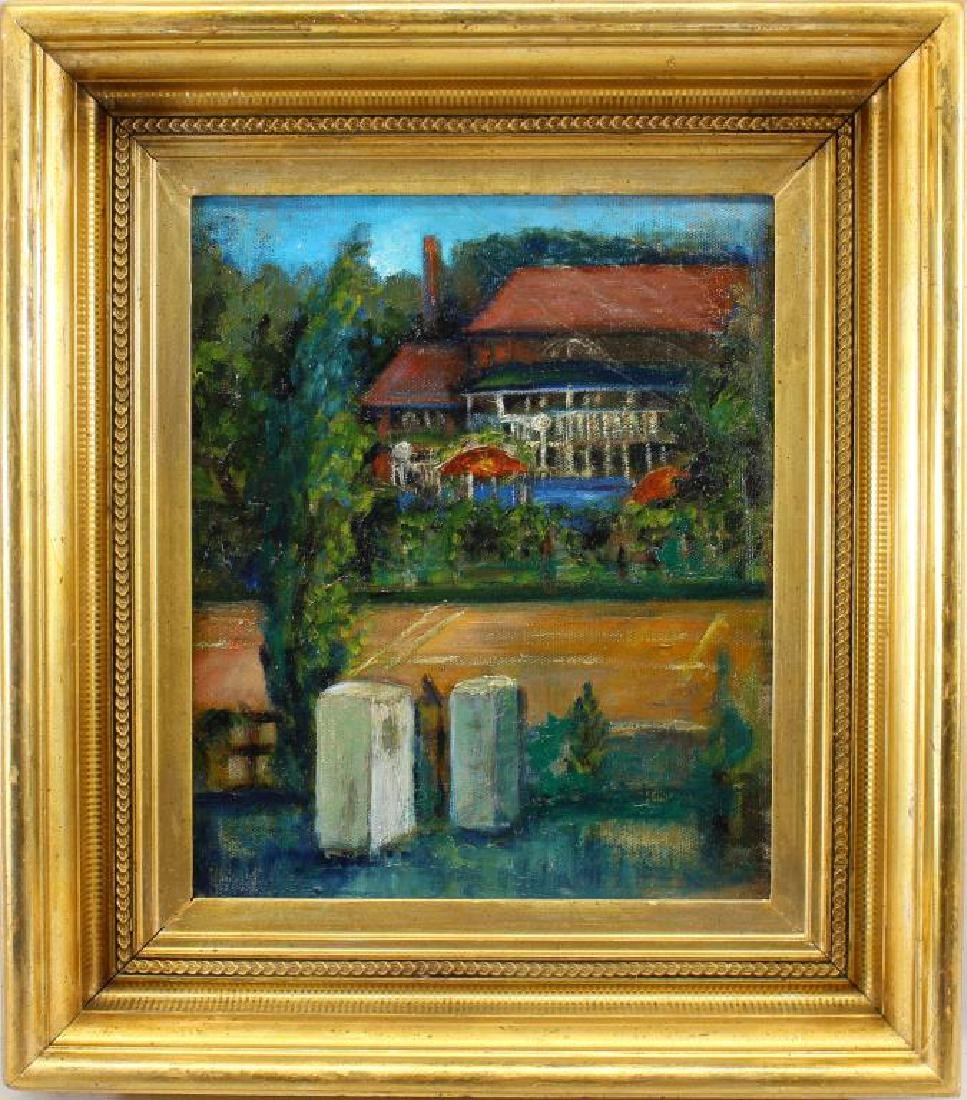 20th C Painting of an Estate in a Spring Landscape