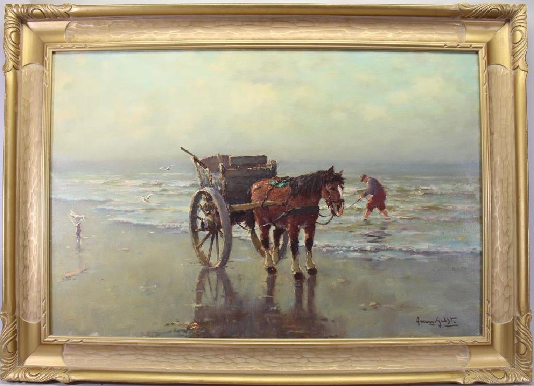 Dutch School, Horse Drawn Carriage at Beach