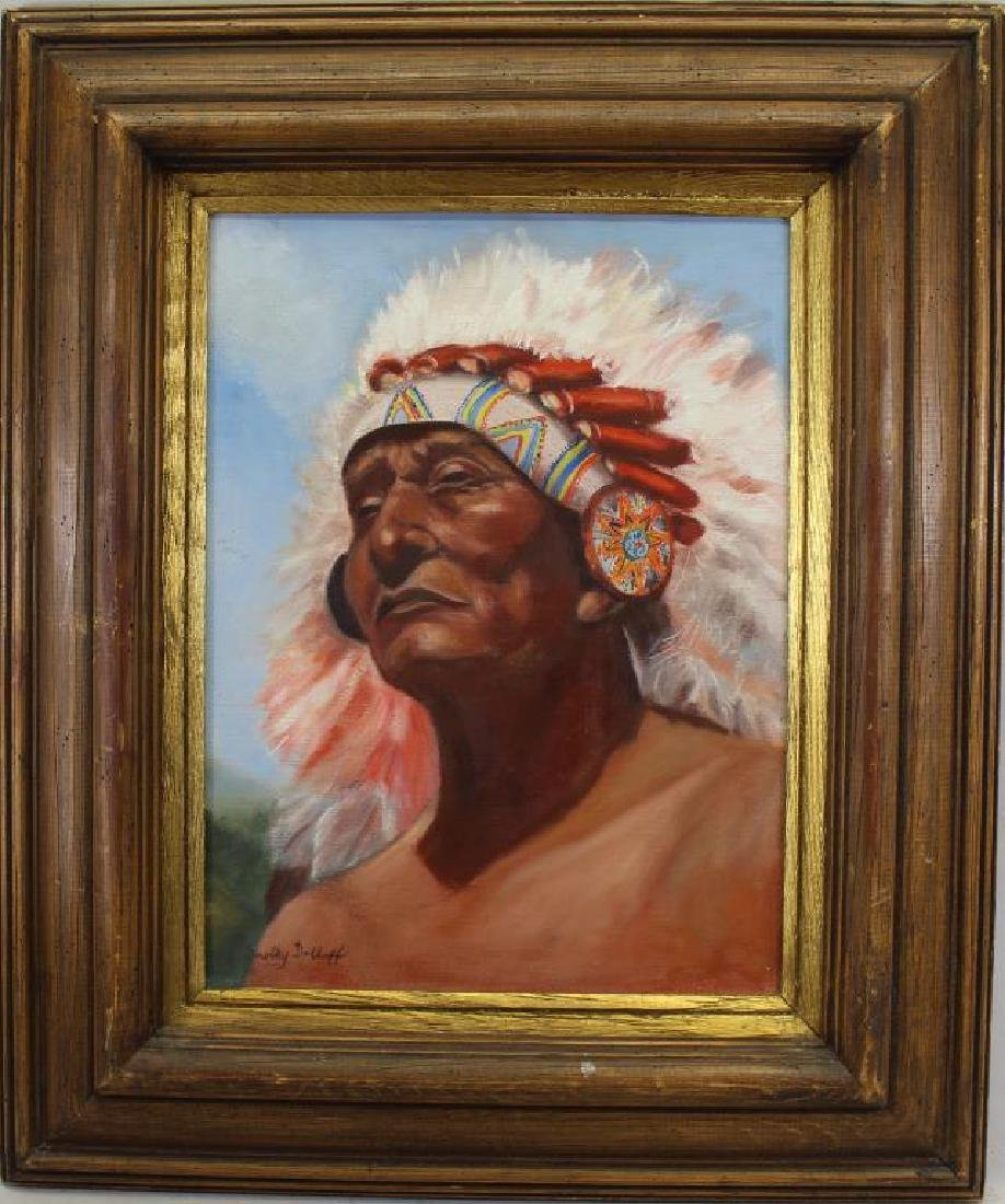 Signed, 20th C. Painting of Native American