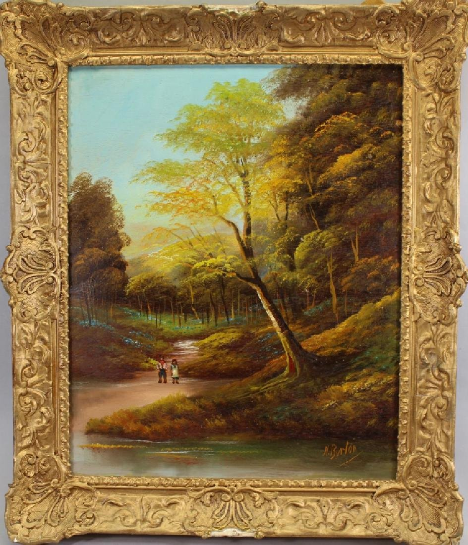 H. Burton, Signed 20th C. River Landscape
