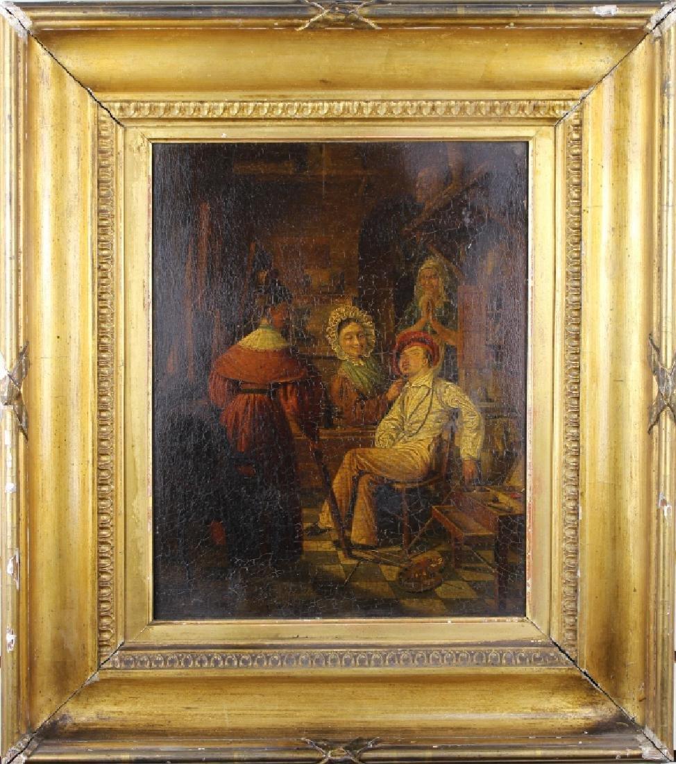19th C. Interior Scene w/ Figures