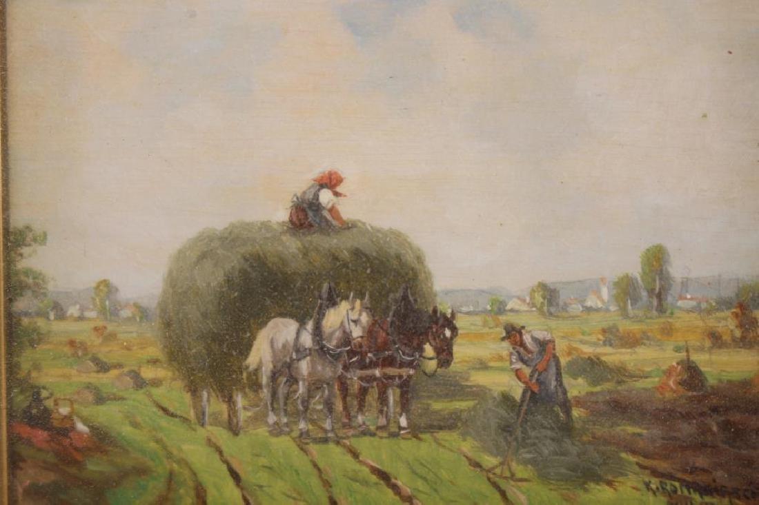 European School, 19th C. Farmers Plowing Fields - 2