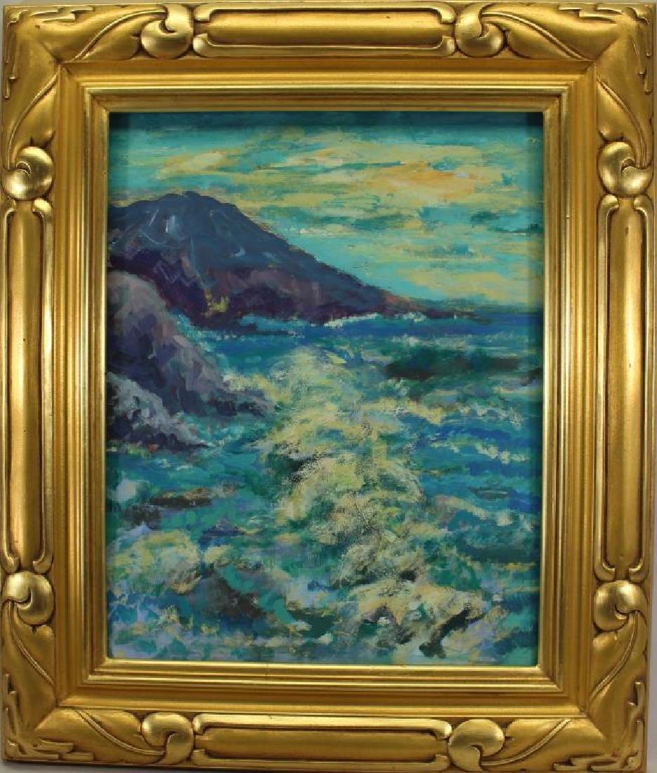 American School Painting in Gilt Summit Frame