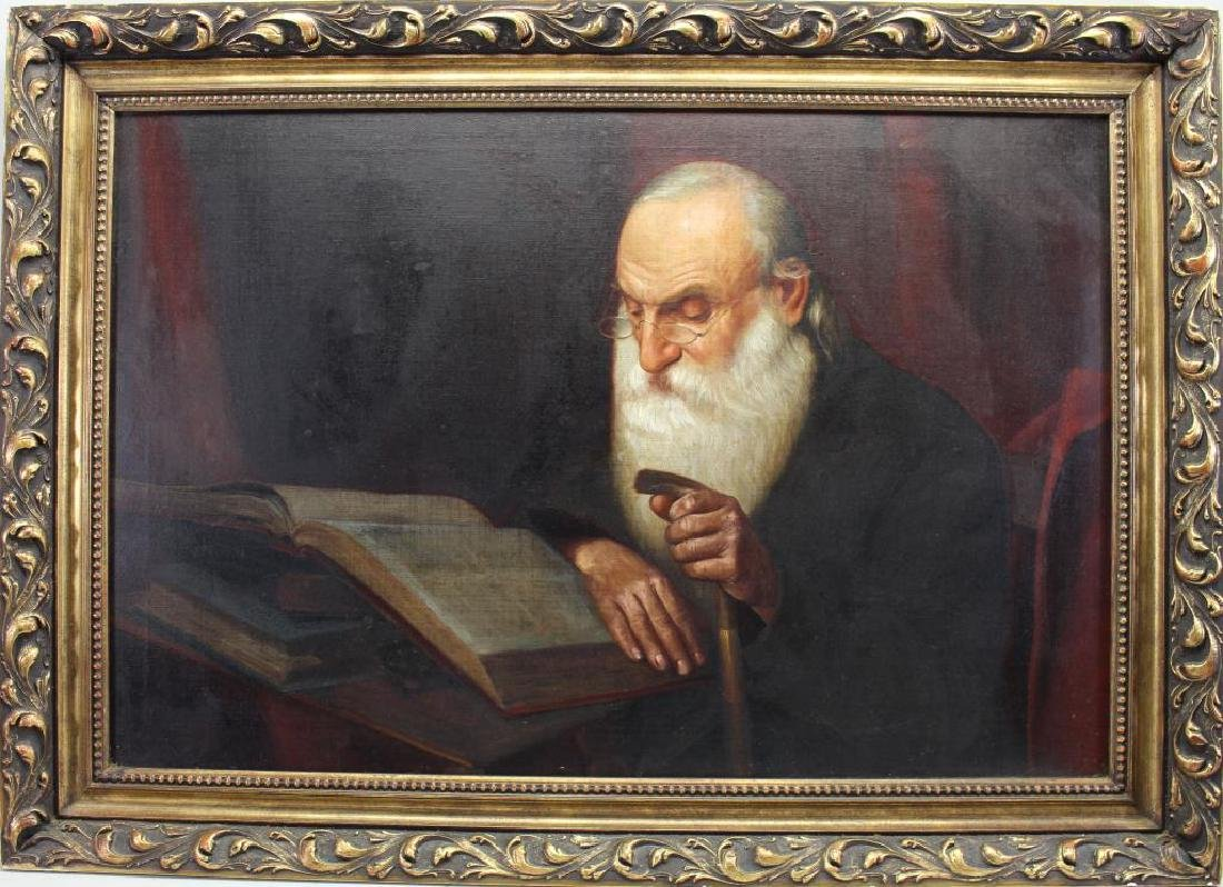 20th C. Painting of a Judaic Man Reading