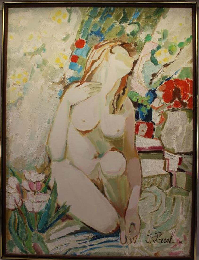 J. Paul, Signed 20th C. Abstract Nude Woman