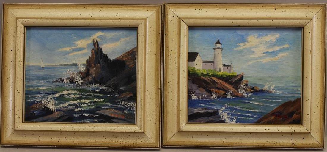 (2) New England Coastal Scenes, Signed