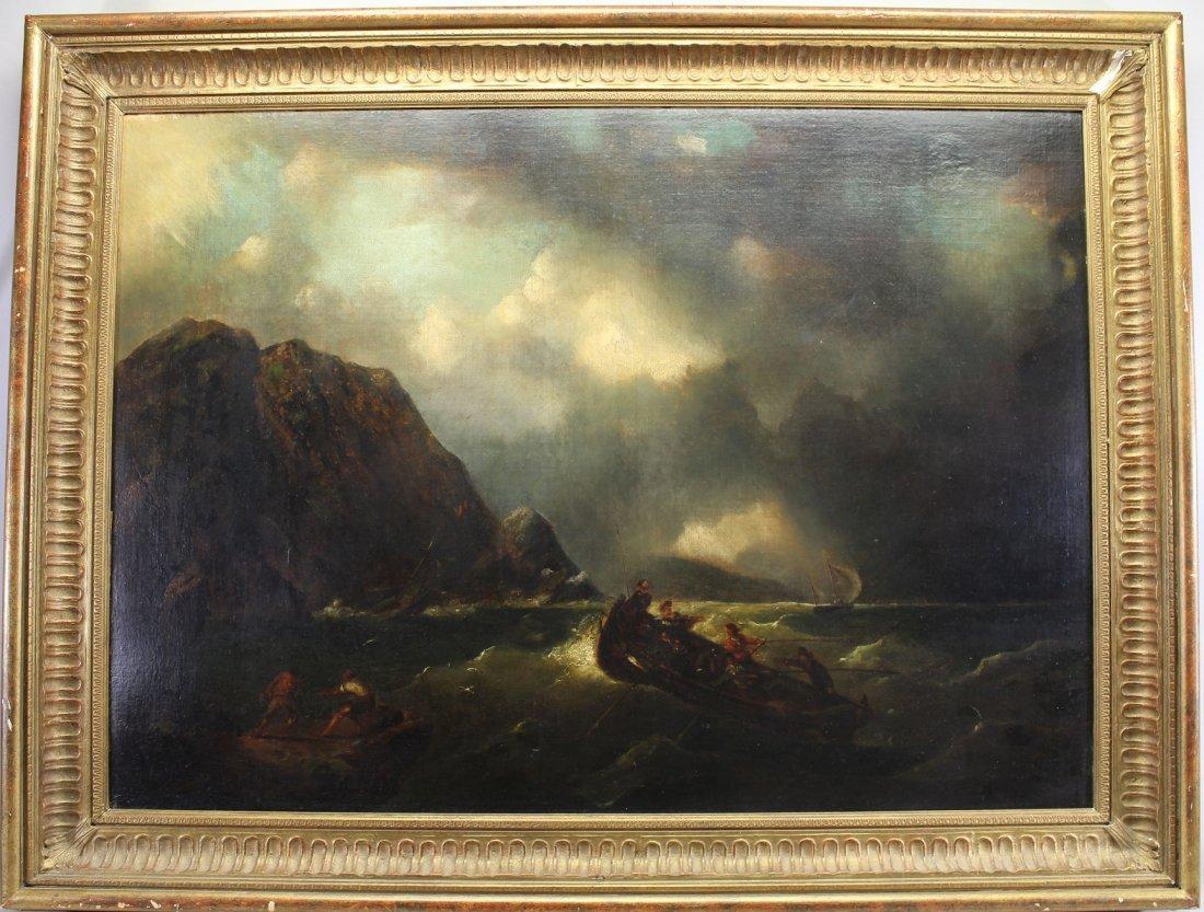 19th C. Figures in Rough Seas Near Cliff
