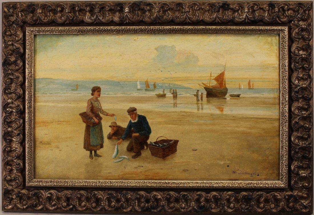 19th C. English Coastal Scene with Figures, Signed