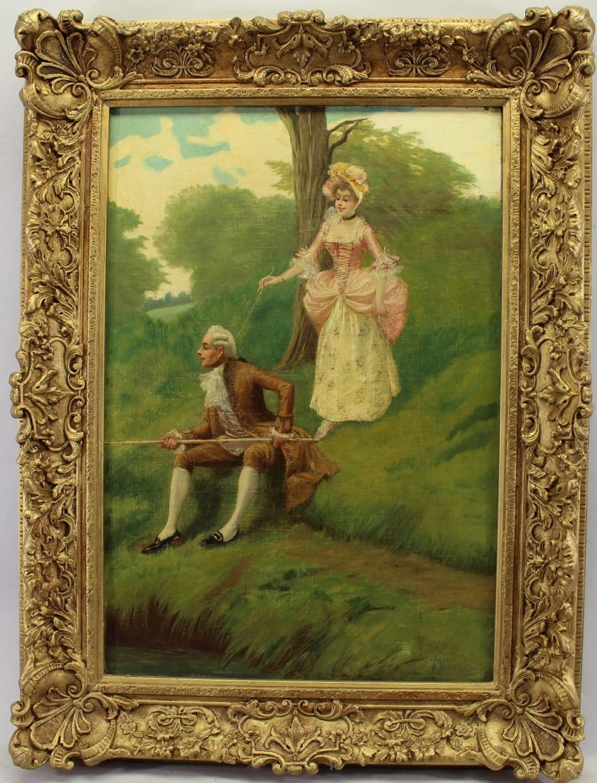 Signed, English Painting of Couple Conversing