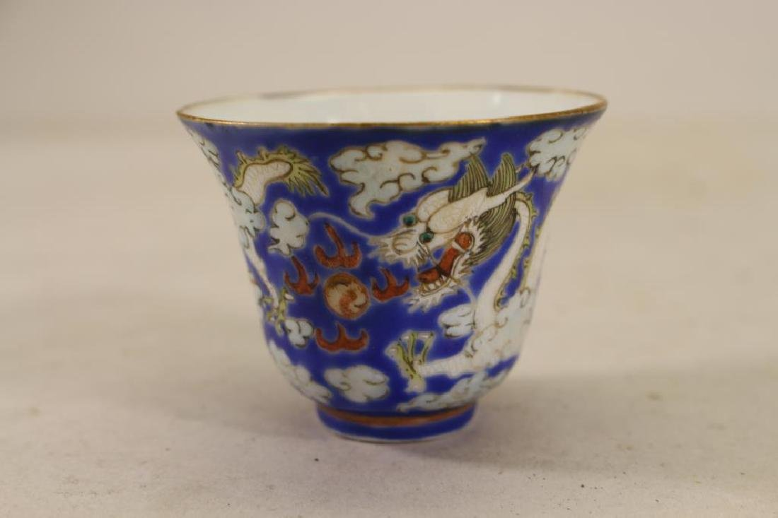 Chinese Export, Blue Ground Dragon Porcelain Cup