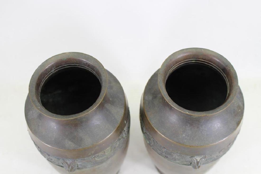 (2) Antique Bronze Japanese Vases - 5