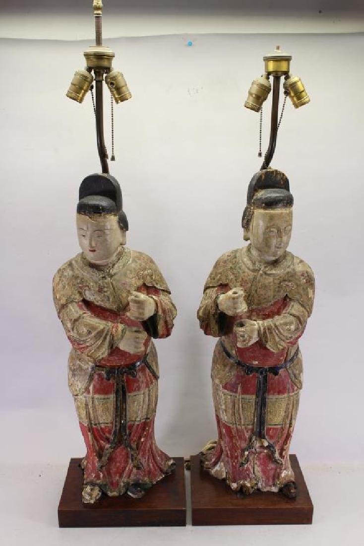 Pair of Chinese Polychrome Carved Wood Figure Lamp