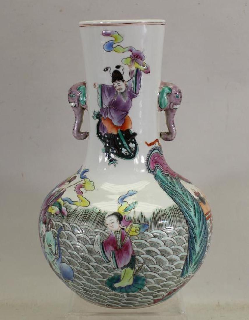 Chinese Famille Verte Figural Vase, Signed