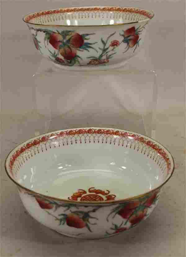 (2) Signed, Chinese Porcelain Floral/Gilt Bowls
