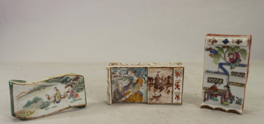 (3) Chinese Famille Rose Porcelain Ink Stands