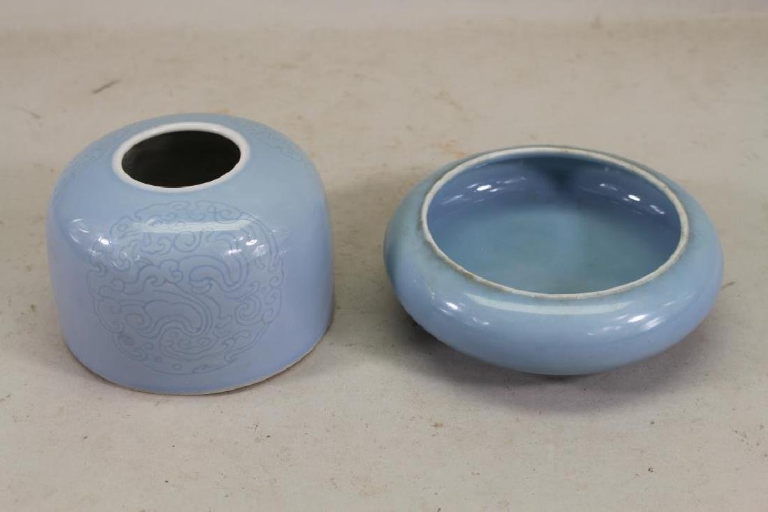 (2) Chinese Powder Blue Inkwell, Signed