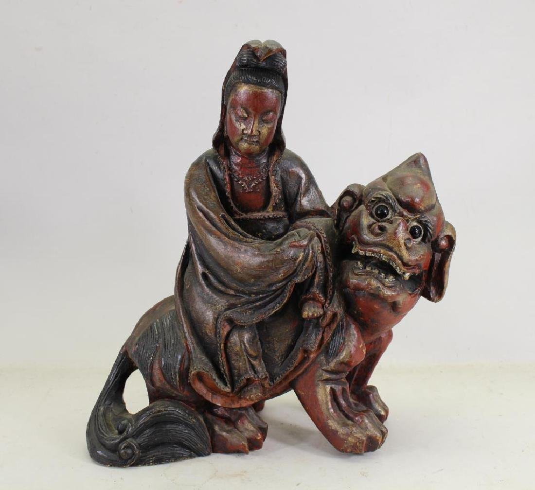 Antique Chinese Carved Figure on Foo Dog
