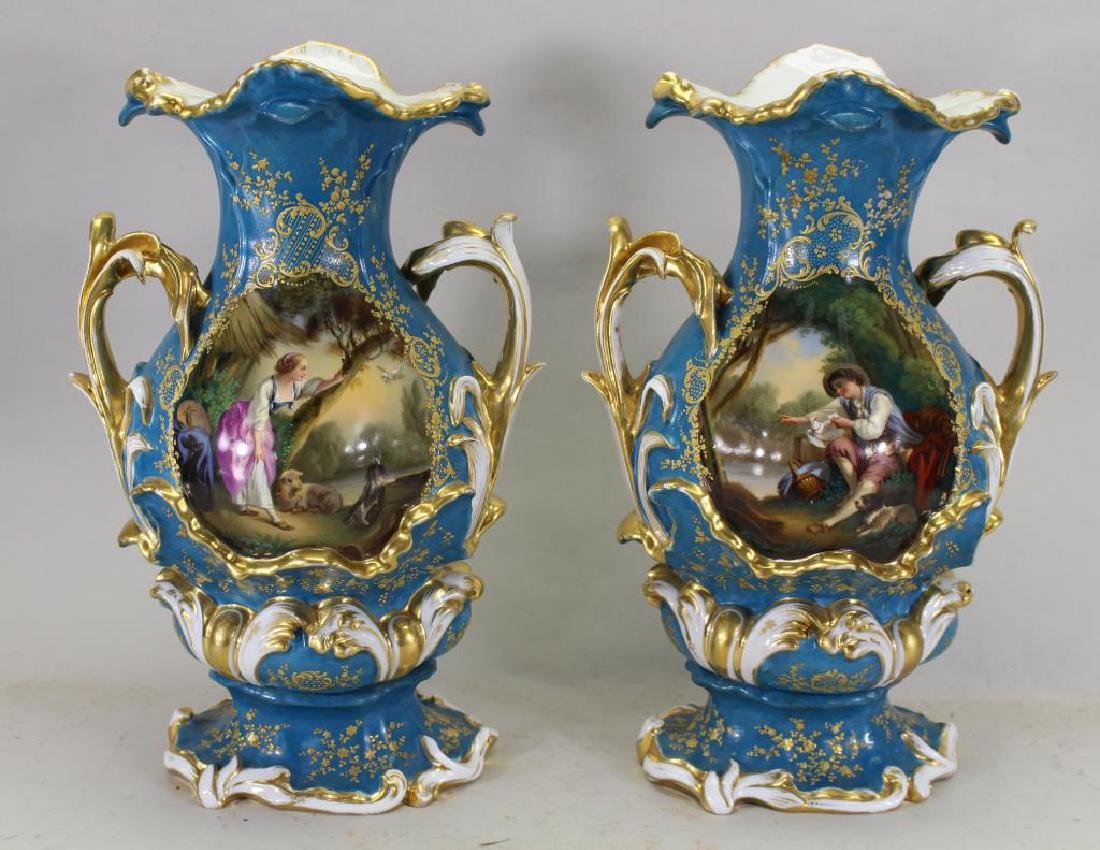 Pair of Austrian Royal Vienna Twin Handled Vases