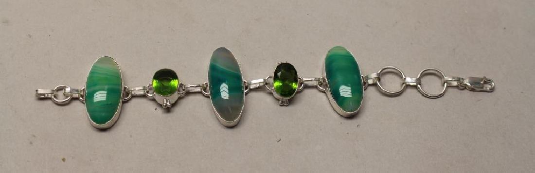 Agate & Peridot Sterling Bracelet
