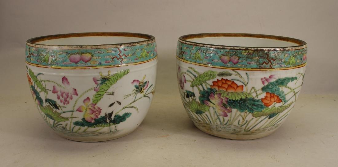 (2) Signed Chinese Enameled Porcelain Planters