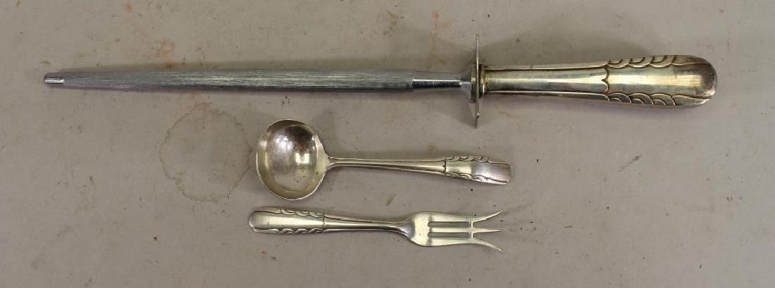 Knife Sharpener & (2) Small Sterling Utensils