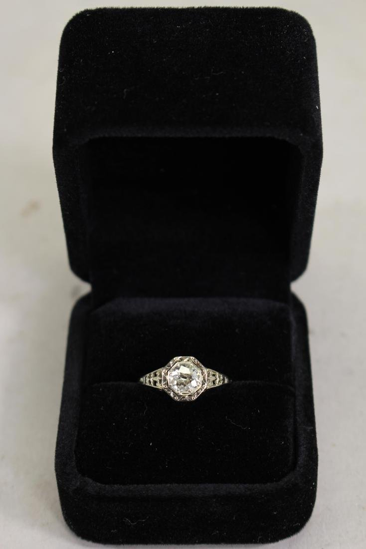 18KT White/Gold Ladies Cast Diamond Solitaire Ring