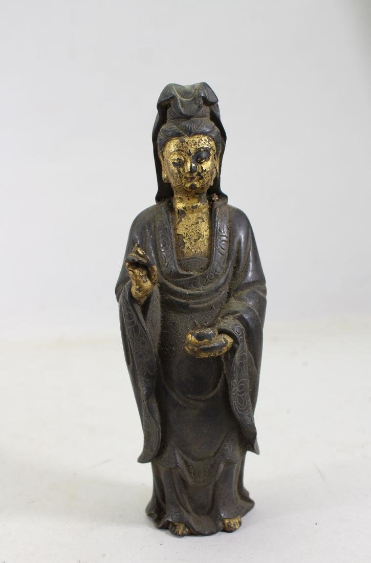 Antique Chinese Gilt Bronze Guanyin